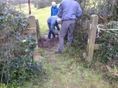 Replacing two stiles with a kissing gate at Nempnett Thrubwell, 2nd February 2017 (Work getting underway)